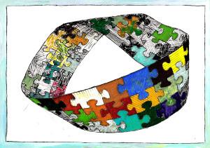 Möbiusband_Eriksen_Möbiusbänder_01_Zeichnung_Lavierte-Federzeichungfarbiges_Möbiusband mit Puzzleteilen in der Entwicklung