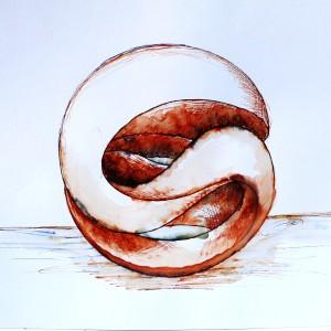 Möbiusband_Eriksen_Möbiusbänder_01_Zeichnung_Möbiusband-Kugel-horizontal_Lavierte-Federzeichung